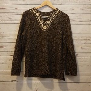 Cathy Daniels boucle sweater w/ floral embroidery